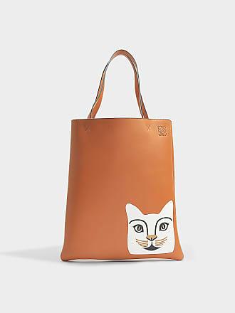 Loewe Sac Cabas Vertical Cat en Cuir de Veau Tan et Blanc