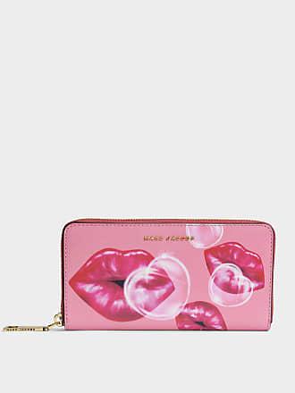 Marc Jacobs Portefeuille Continental Lips en Cuir Rose
