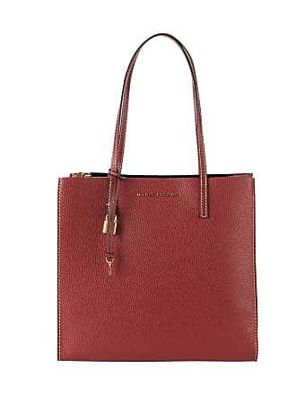 Marc Jacobs Sac Shopper EW Logo en Cuir Craquelé Rouge
