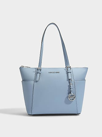 Michael Michael Kors Sac Cabas Mott Medium East-West Top Zip en Cuir Crossgrain Bleu Marine