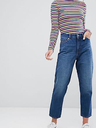 Taiki - Weiße Mom-Jeans mit hoher Taille im Used-Look - Weiß Monki