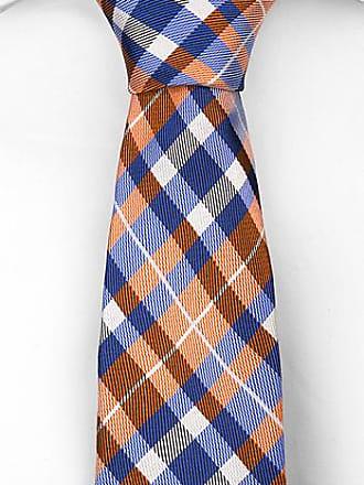 Slim necktie - Playful checkered pattern in orange, blue & white Notch