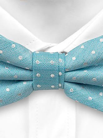 Pre tied bow tie - Turquoise linen Chambray with small white dots Notch