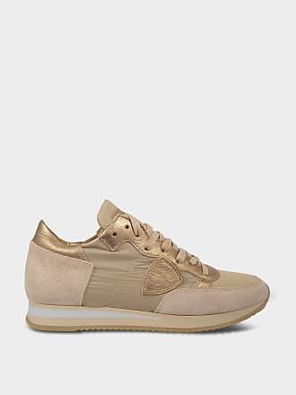 Philippe model Chaussures Basket Tropez en suède et tissu et bronze