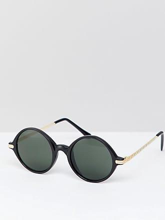 Reclaimed Vintage Inspired - Exclusivité ASOS - Lunettes de soleil rondes - Noir/rose - Noir
