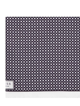 Diego - Houndstooth Pocket Square in Navy, Mens Reiss