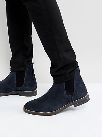 Chelsea Boots In Navy Suede - Blue Silver Street London