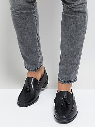 Wide Fit Tassel Loafers In Black Leather - Black Silver Street London