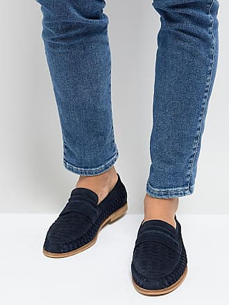 Wide Fit Loafers In Navy Suede - Blue Silver Street London