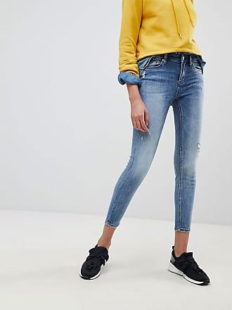Enge Jeans mit normaler Taille - Blau Stradivarius