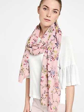 Cotton scarf with tassels purple-pink female Taifun