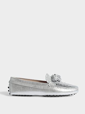 Gommino Chaussures Mule Tassle En Daim Tod Argent De