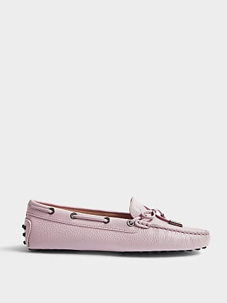 Heaven Moccasins with Bow in Lilac Textured Calfskin Tod's