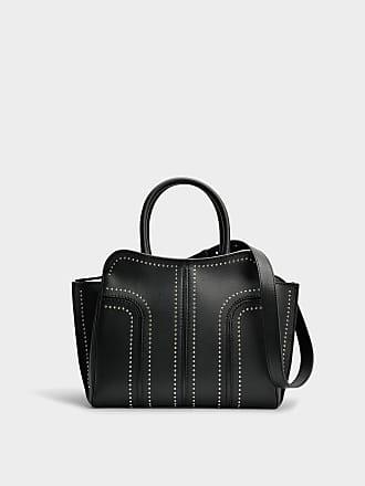 Tod's Grand Sac Shopping Zippé Sella Clouté en Cuir de Veau Noir