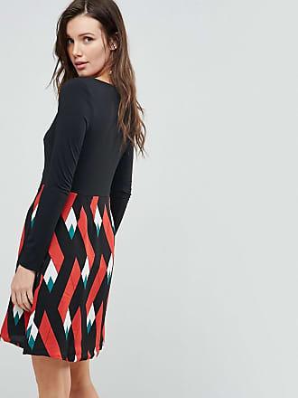 Double Take Dress With Graphic Print Skirt - Black/orange Traffic People