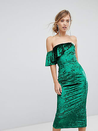 Velvet Fluted Sleeve Midi Dress With Open Back - Burgundy True Violet