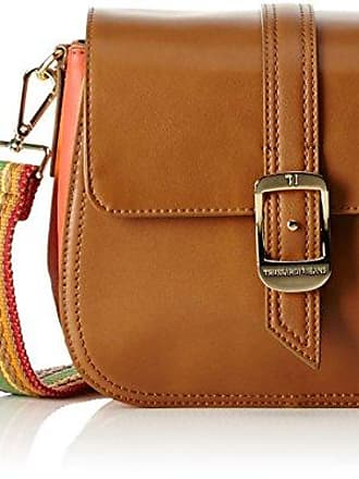 Dahlia Smooth Ecoleather/printed Canvas Mini Bag, Womens Cross-Body Brown (Leather), 25x17x6.5 cm (W x H L) Trussardi
