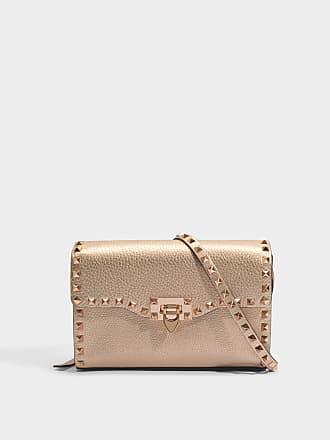 Metallic Rockstud Pouch Bag in Silver Grained Metallic Calf Valentino