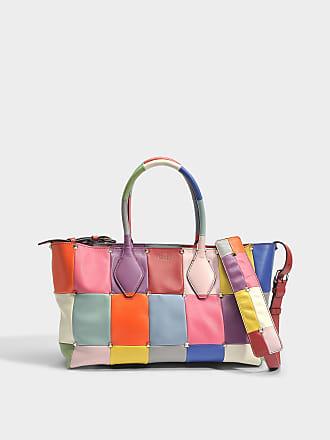 Valentino Garavani Mini Sac Cabas Puzzle Clouté en Patchwork de Cuir Multicolore