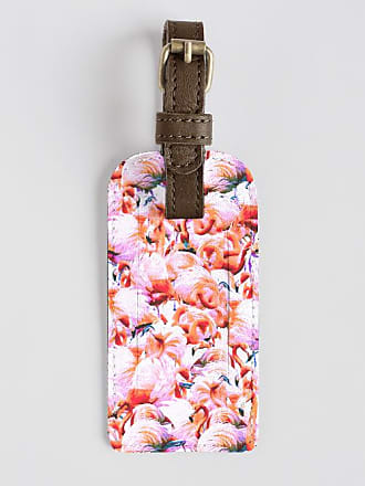 VIDA Leather Accent Tag - Tag with flowers pink by VIDA