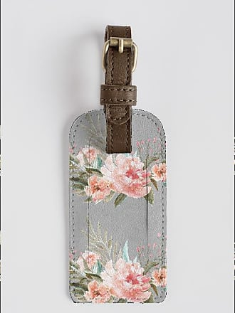 Leather Accent Tag - Tag with pink roses by VIDA VIDA