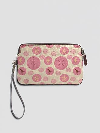 VIDA Leather Statement Clutch - cream retro dots by VIDA