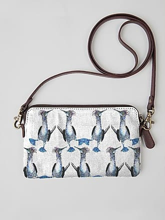 VIDA Leather Statement Clutch - Leaves on Blue by VIDA