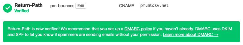 Custom Return-Path verified on Postmark