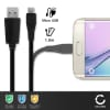 Cable de datos para Lenovo K5, K6 (Note, Power), A Plus, B, C2, P2, Vibe P1, Vibe Z2 - 1m, 1A Cable USB Cable Data, negro