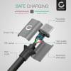 Câble Data pour OnePlus 9, 9 Pro, 8, 8 Pro, 8T, 7, 7 Pro, 7T, 7T Pro, 6, 6T, Nord, Nord 2 - 2m, 3A Câble USB, gris