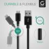 USB Cable for TwoNav Anima / Trail 2 Bike / Horizon Bike / Velo / Aventura 2 Motor - Charging Cable 1m Data Cord 2A Black Nylon Wire Lead