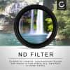 Einstellbarer Neutraldichte Filter ND2-400 für Ø 55mm Graufilter, Langzeitbelichtung