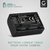 Batterie pour appareil photo Sony FDR-AX33 AX53 AX100e HDR-PJ810 PJ530e PJ330e PJ260 HDR-CX625 CX190 CX220 CX250 CX280 - NP-FV50 NP-FV70 NP-FV100 650mAh NP-FV50 Batterie Remplacement