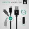 USB Kabel für Gigaset QV830 / QV1030 - Ladekabel 1m 2A Nylon Datenkabel schwarz