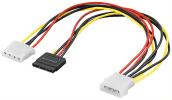 PC Y Stromkabel/Stromadapter - SATA Stecker > Molex-Stecker (4-Pin) + Molex-Buchse (4-Pin)