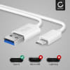 USB Cable for Google Pixel C - Charging Cable 1m Data Cord 3A White PVC Wire Lead