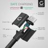 Câble Data pour HTC One A9, A9s, E9, M8, M8 Eye, M8s, M9, X / Desire 530, 630, 10 Pro, 10 Lifestyle - 2m, 2A Câble USB, noir