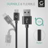 Datacable for Amazon Kindle / Fire HD 6 / 7 / 8 / 8.9 / 10 (2017) / Fire HDX 7 / 8.9 / Paperwhite / Voyage - 1m, 2.4A USB Data Cable, Black/Silver