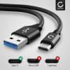 Câble Data pour OnePlus 9, 9 Pro, 8, 8 Pro, 8T, 7, 7 Pro, 7T, 7T Pro, 6, 6T, Nord, Nord 2 - 2m, 3A Câble USB, noir