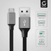 Datacable for HP Tablets (micro USB) - 2m, 2A USB Data Cable, Grey