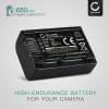 Batteri för Sony HDR-PJ620, -PJ810, NEX-VG10, FDR-AXP33, -AX33, HDR-CX900 - NP-FV50,NP-FV70,NP-FV100 (650mAh)