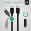 USB Cable for Razer Blade Stealth Pro / Trekstore Primebook C13 / Eve V - Charging Cable 1m Data Cord 3A (PD 60W) Black PVC Wire Lead