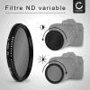 Filtre Densité neutre réglable ND2-400 pour Ø 37mm Filtre Gris Neutre