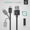 Cable de datos para Kazam Thunder / Trooper / Life - 1m, 2.4A Cable USB Cable Data, negro/plateado