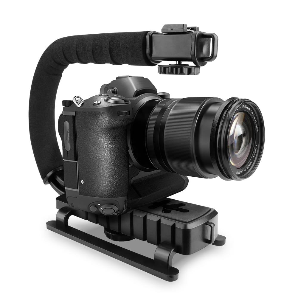 Stabilisateur en forme de C pour appareils photo et caméscopes | Poignée pour vidéo de skate, bmx, snowboard et sports urbains. Accessoire fixation Cold Shoe Filetage 1/4