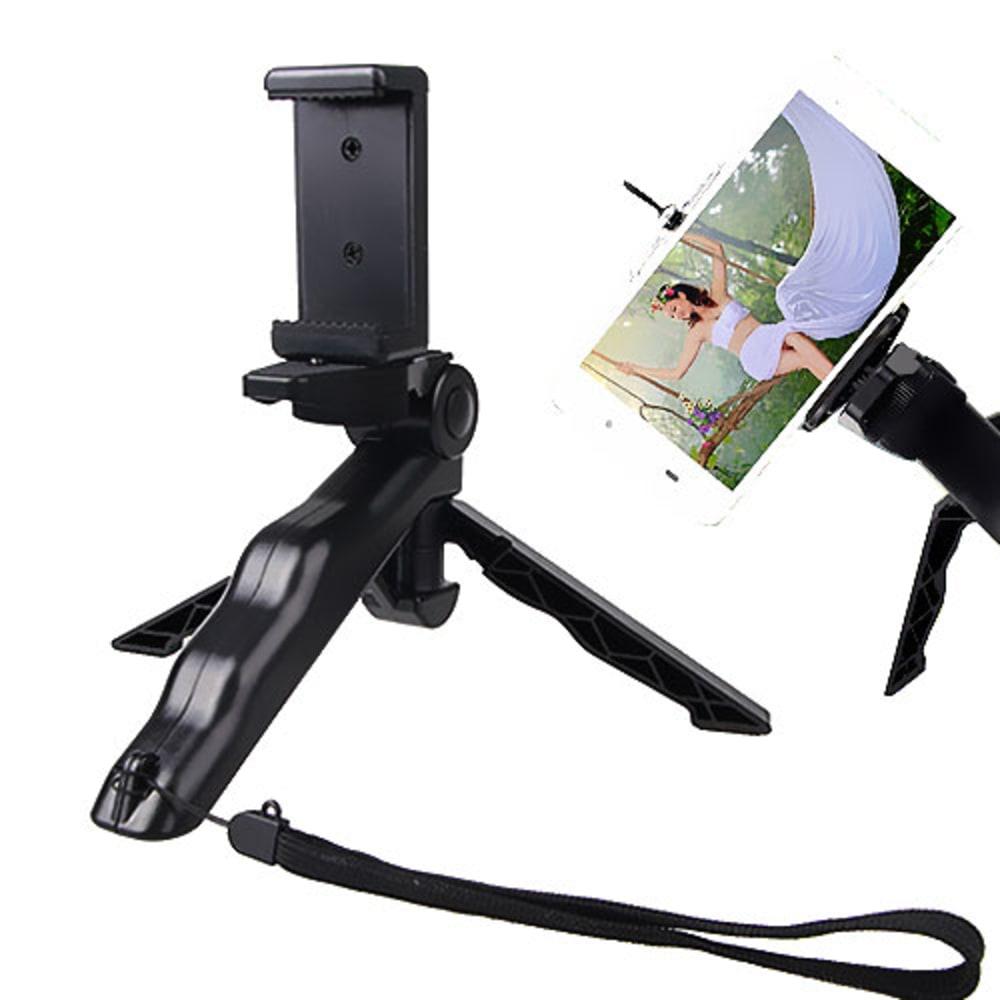 Dreibein Stativ / Selfie Stick mit verstellbarem Kugelkopf + Handhalterung für Smartphones, Kameras, Monopod/Tripod