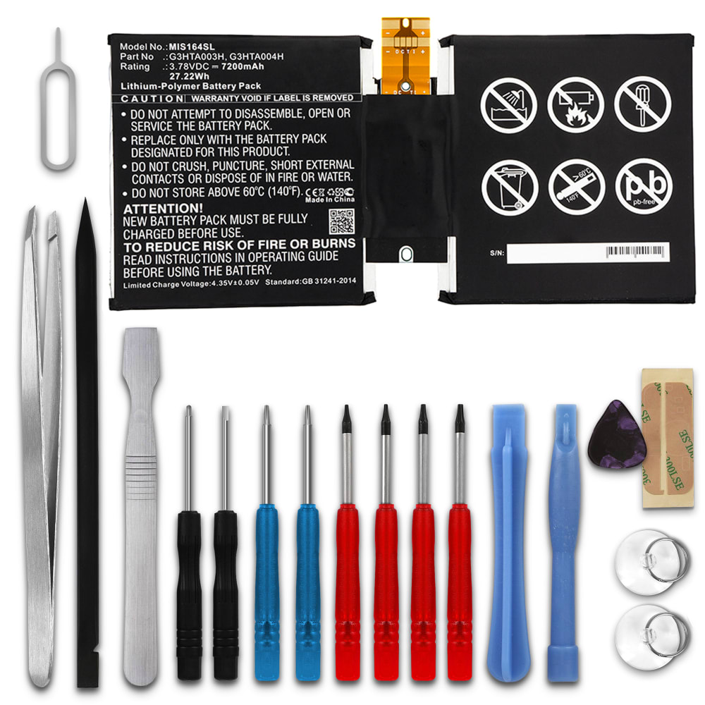 subtel® Replacement Tablet Battery for Microsoft Surface 40 40.40, MSK 40  G40HTA400H, G40HTA40H Battery Replacement 40mAh + Tool kit