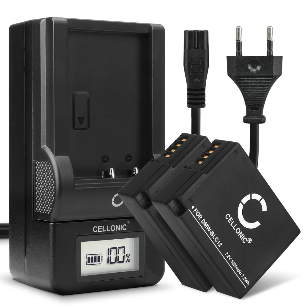 2x Batterie pour appareil photo Panasonic Lumix DMC-FZ1000 DMC-FZ300 DMC-FZ200 DMC-FZ2000 DMC-G7 -G70 -G6 -G5 DMC-G80 -G81 DMC-GX8 DMC-GH2 - DMW-BLC12 1000mAh + Chargeur DE-80 DE-A80A Batterie Remplacement