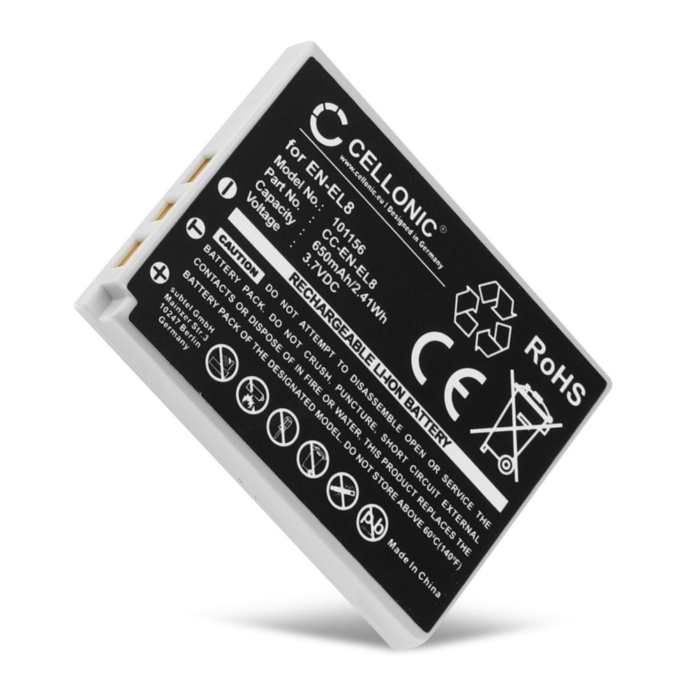 Batterij voor Nikon Coolpix P1 P2 Coolpix S1 S2 S3 S5 s50 S50c S51 S51c S52 S52c S6 S7 S7c S8 S9 camera - EN-EL8 650mAh Vervangende Accu voor fototoestel
