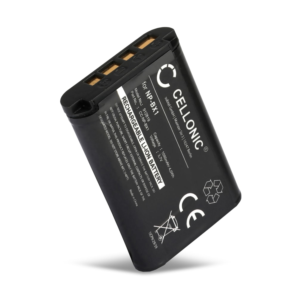 NP BX1 Camera / Camcorder Battery for Sony RX100 III IV V FDR-X3000 DSC-RX100 DSC-HX60 -HX400V -HX350 HX90V HX80 DSC-H400 DSC-WX500 -WX350 HDR-CX405 -CX240 HDR-AS50 -AS300 1090mAh Replacement Spare Backup Power Pack